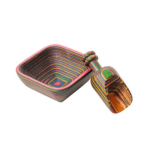 Island Bamboo - Island Bamboo Rainbow Pakkawood Square Pinch Bowl with Mini Scoop