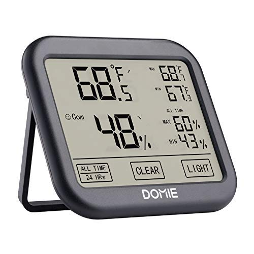 Digital Temperature and Humidity Monitor, Indoor Thermometer, Accurate Temperature and Humidity Meter for Home, Office, Greenhouse, Domie Mini Hygrometer with Big Touchscreen and Backlight by Domie
