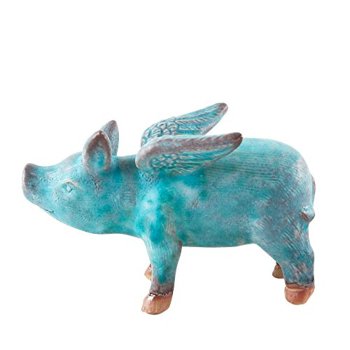 NOVICA Turquoise Colored Bright Blue Winged Pig Ceramic Sculpture, Blue Flying Pig'