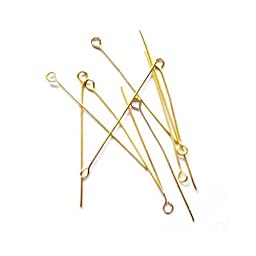 Pack Of 275+ Golden Nickel-Free STRONG Plated Iron 0.7 x 40mm Eye Pins - (HA02190) - Charming Beads