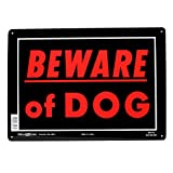Hillman 840143 Beware of Dog Sign, Black and Red Aluminum Metal, 10x14 Inches 1-Sign