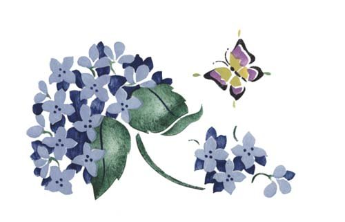 Hydrangea and Butterfly Wall Stencil SKU #2998 by Designer Stencils (Butterfly Hydrangea)