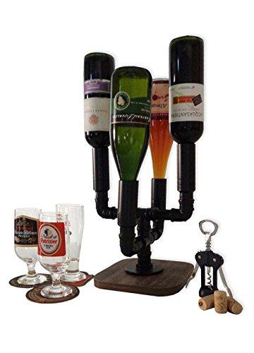 Adega Suporte Mesa Bar 4 Garrafas Porta Vinhos e Bebidas Estilo Industrial Preto Laca