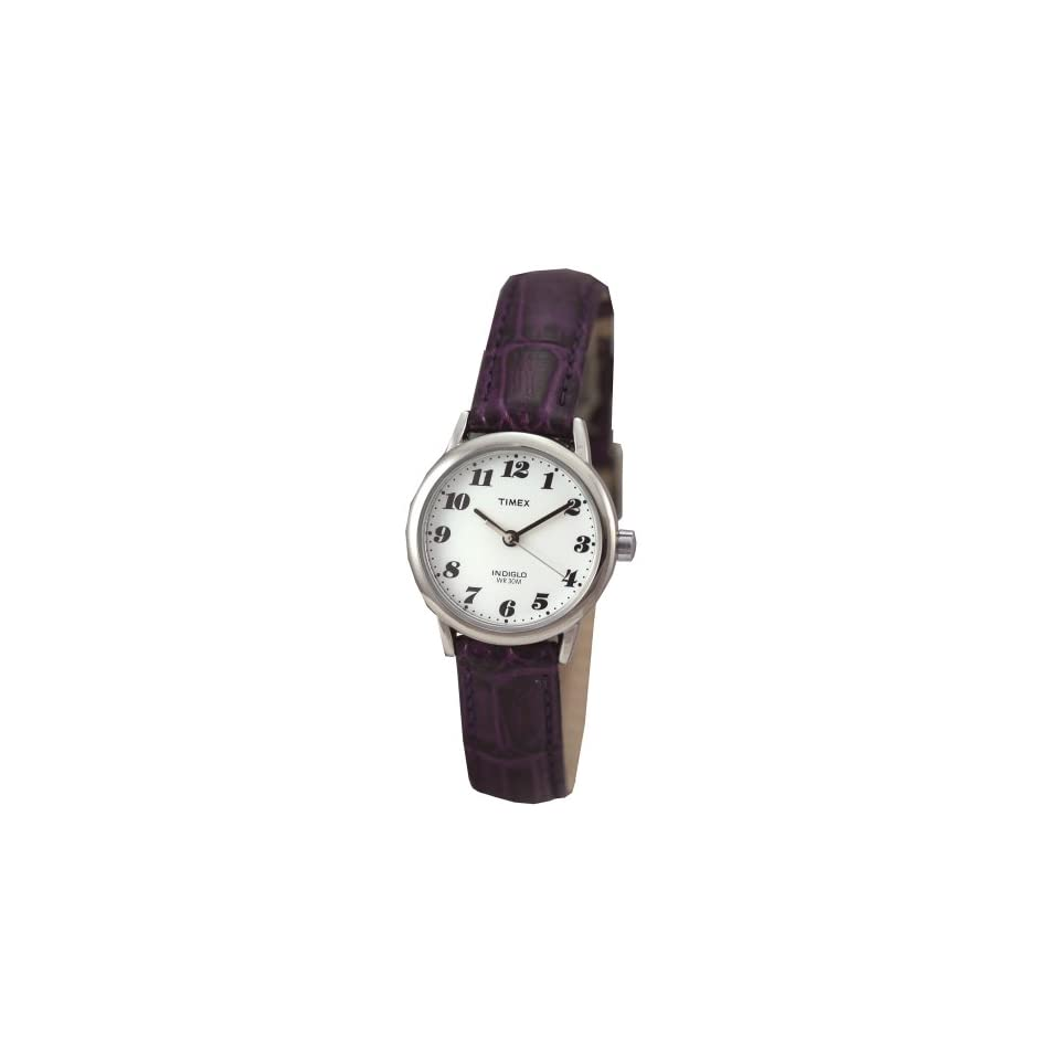 Timex 2E792 Womens Round Silver Tone Casual Watch with White Easy to Read Dial and Deep Purple Genuine Leather Band