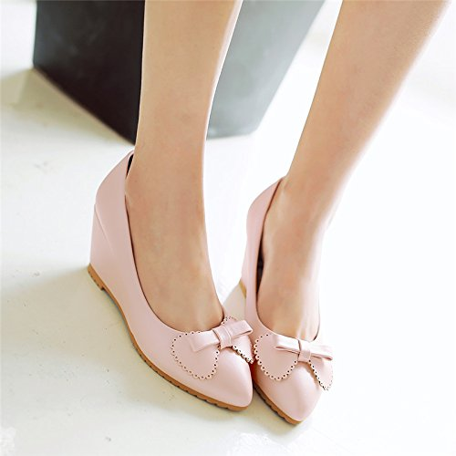 High And Shoes Slope And Shoes Butterfly Ladies Shoes Pink Season With Ladies Heel Spring And SFSYDDY Nurse Professional Shoes Knots Summer S6qpf68