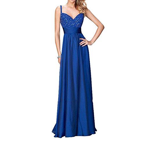 Abendkleider Royal Abiballkleider Damen linie Neu Zwei Spitze Blau A Lang Abschlussballkleider Charmant Pailletten traeger C07Xwqw