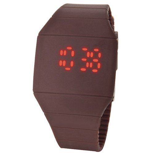 Unisex Touch Digital Red Led Silicone Sports Wrist Watch Watch Brwon
