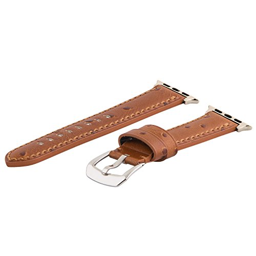 Clockwork Synergy - Gentlemen's Collection Leather Watch Bands for Apple Watch (38mm Saddle Ostrich) - Synergy Collection
