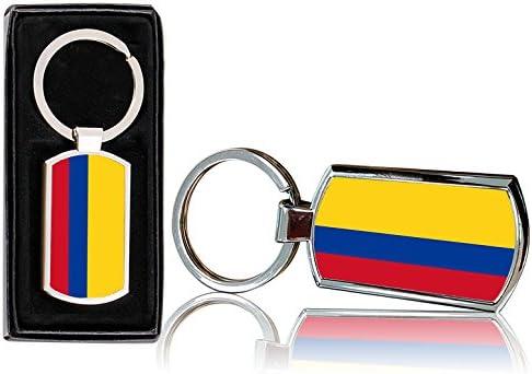 VVM Tech 0169 Incluye Caja de Regalo Llavero Rectangular de Metal Cromado con Dise/ño de Bandera de Colombia
