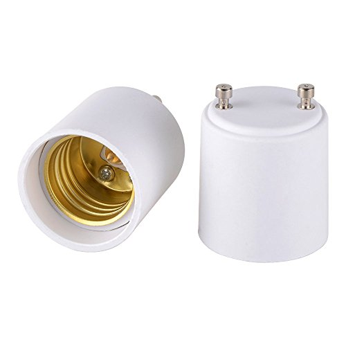 Onite 2pcs GU24 to E26 E27 Adapter for LED Bulb, GU24 to Medium Base Converts Your Pin Base Fixture to Standard Screw-in Lamp Socket (Bulb Two Lamp)