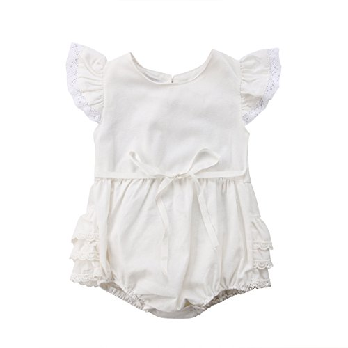 Infant Baby Girl Cute Lace Layered Ruffle Sleeve Romper Dress Bodysuit Clothes (White, 0-6 Months)