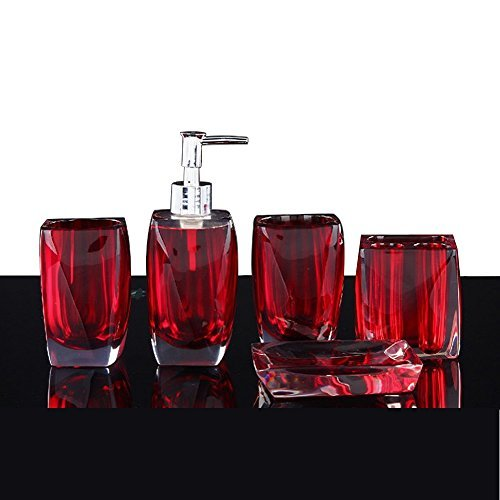 Bathroom Accessory Set Resin Soap Dish, Soap Dispenser, Toothbrush Holder & Tumbler (No tray, Red) LUANT