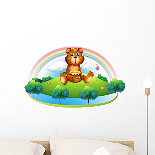 Wallmonkeys Bear Holding Pot Honey Wall Decal Peel And Stick Graphic  24 In W X 15 In H  Wm112063