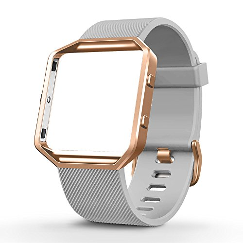 UMTELE for Fitbit Blaze Bands, Silicone Replacement Strap with Stainless Steel Frame for Fitbit Blaze, Small, Grey
