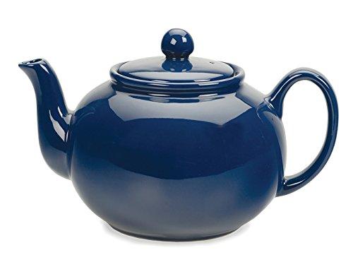 RSVP Stoneware Teapot, 48 oz, Blue (Teapot Cobalt)