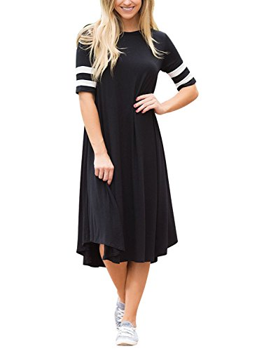 Lovezesent Juniors Long Loose Tunic Dress With Stripe Sleeve A Line T Shirt Dresses For Women Casual Black Small