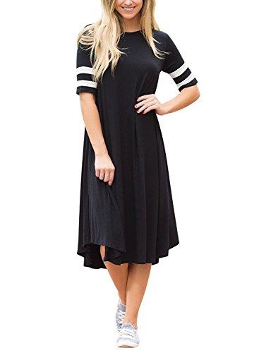 Tee Crewneck Line Sleeve Short (SOLO POP Women's A-Line Causal Crewneck T-Shirt Midi Dress Short Sleeve Long Dress(Black,S))