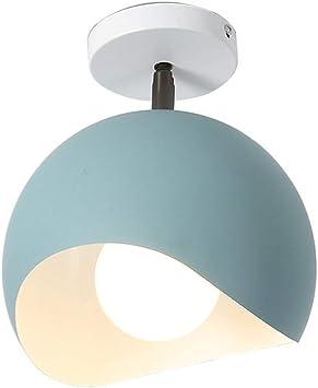 Imagen deAZCX Diseño Moderno LED lámpara Minimalista balcón Luces Ronda Color pequeño Colgante Lámpara Creativa lámpara Dormitorio Cocina Cuarto de baño Pasillo lámpara de Techo E27,Blue