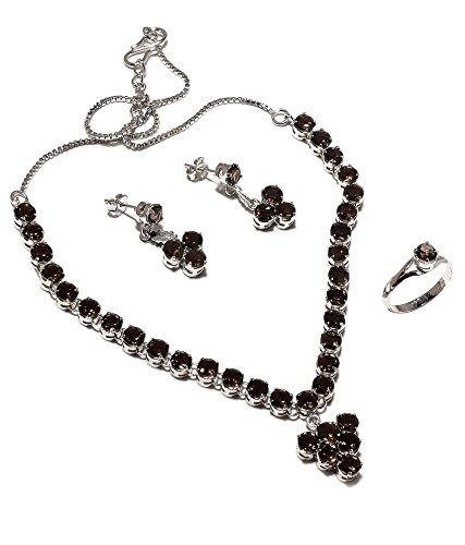 Be You plaqué brun belle smokey diamant oeil rhodium argent boucle d'oreille et collier ensemble sterling pour les femmes