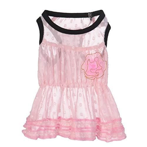 YOTATO Spring Summer Chiffon Camellia Floral Dog Dresses Pet Skirt for Cat Light Clothing ()