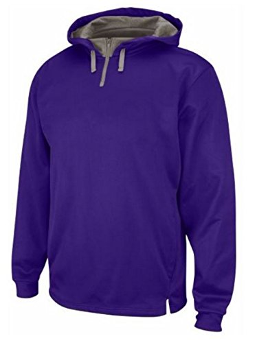 Base Sweatshirt Therma (Majestic Men's Therma Base Fleece Purple Pullover Zip Hoodie A161-M235 (L))