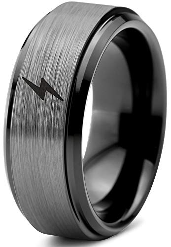 Zealot Jewelry Tungsten Flash Thunder Lightning Bolt Band Ring 8mm Men Women Comfort Fit Black Step Bevel Edge Brushed Gray Polished Size 10