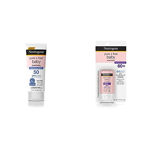 Neutrogena Pure & Free Baby Mineral Sunscreen Broad Spectrum SPF 50, (Pack of 3) and Sunscreen Stick Broad Spectrum Spf 60