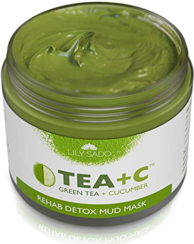 TEA+C Green Tea + Cucumber + Parsley Detox Mud Mask - Natural and Organic Face Mask - Anti-Aging, Antioxidant Defense Against Acne, Blackheads & Wrinkles for a Lush, Soft & Glowing Complexion (Deep Mask Volcanic Cleansing Mud)