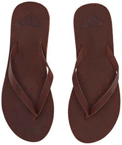 Women Leather Flip Flops - Roxy Women's Brinn Leather Sandal, Chocolate, 9 Medium US