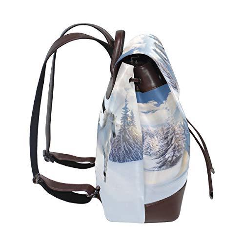 Vit häst ryggsäck handväska mode PU-läder ryggsäck ledig ryggsäck för kvinnor