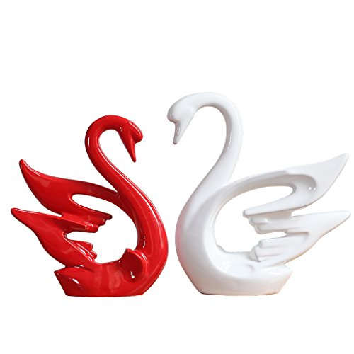 Swan Ceramic Decoration red and White - 6