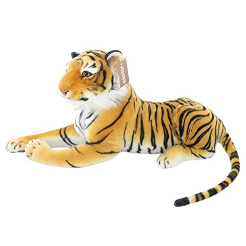 JESONN Realistic Stuffed Animals Tiger Toys Plush (Brown, 23.6 Inch)
