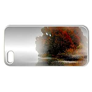 October - Case Cover for iPhone 5 and 5S (Watercolor style, White)
