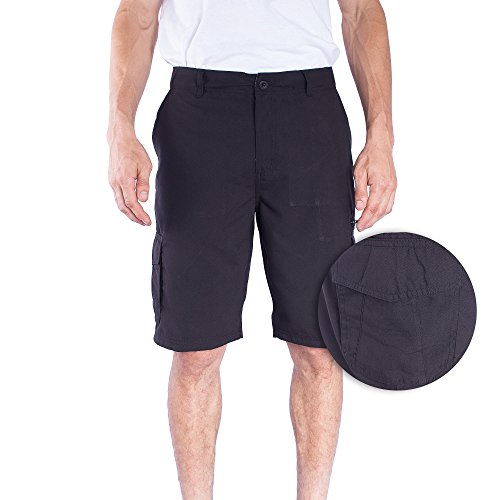 Burnside Mens Safe Microfiber Multi Pocket Cargo Short (36, Black)