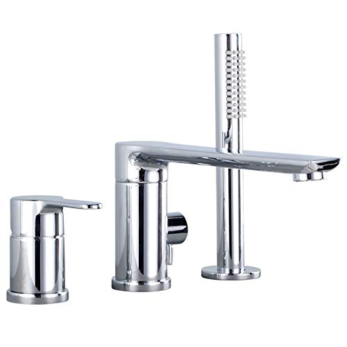 BILLY'S HOME 3 Hole Double Handle Bathtub Faucet, Widespread Valve Bath Shower Mixer taps, Soild Brass tub Filler Faucet with high Pressure handshower, Brushed Nickel,chromeA