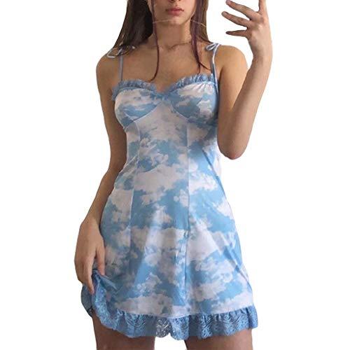 (HunYUN Summer Mini Short Dress Fashion Womens Sexy Print Ruffles Lace Backless Camisole Mini Dress)