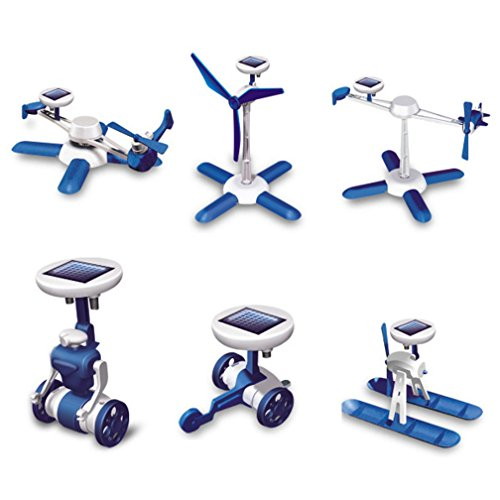 Yannothing new 6-in-1 DIY Science Educational Solar Energy Robot Toys Kit Plane Windmill Airboat Car Helicopter Educational Developmental Toys Baby Kids Training Toy - Six In One Solar Robot Kit