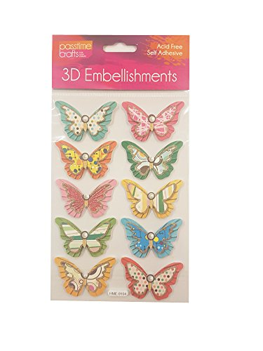 Passtime Crafts 3D Butterfly Embellishments - Pack of 2 Sheets (Card Craft Embellishments)