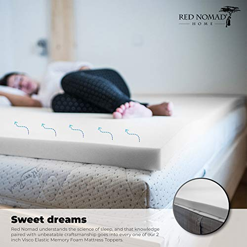 Red Nomad Full Size 2 Inch Thick Ultra Premium Visco Elastic Memory Foam Mattress Pad Bed