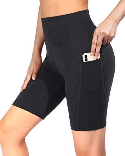 "OMANTIC Yoga Shorts for Women - High Waist Stretch Biker Shorts with Side Pockets for Workout Running Training 5""/8"" Inseam"
