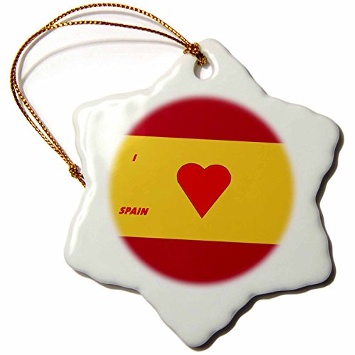3dRose orn_51523_1 I Love Spain Snowflake Porcelain Ornament, 3-Inch by 3dRose