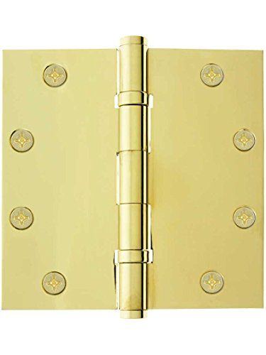 """5"""" Solid Brass Ball Bearing Door Hinge With Button Tips In Pvd"""