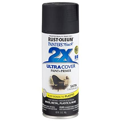 Rust-Oleum 249844 Painter's Touch 2X Ultra Cover, 12-Ounce, Satin Canyon  Black