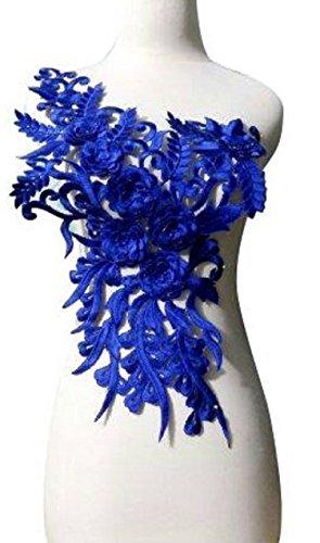WUBU Lace Neckline Trim Applique Embroidery Patch Motif Embellishments Decorative Patches (Blue)