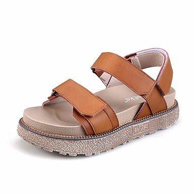 RUGAI-UE Moda de Verano Mujer sandalias casuales zapatos de tacones PU Confort,Champagne,US8 / UE39 / UK6 / CN39 Brown