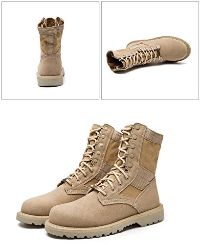 Maybest Unisex Desert Army Combat Patrol Tactical Lace Up Boots Military Lightweight Leather Tan Jungle Work Shoes Beige Long 8imJi45s