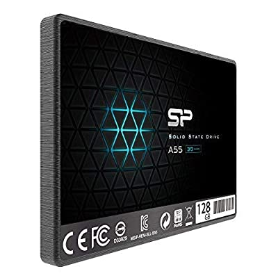 "Silicon Power 128GB SSD 3D NAND A55 SLC Cache Performance Boost SATA III 2.5"" 7mm (0.28"") Internal Solid State Drive (SU128GBSS3A55S25AC)"
