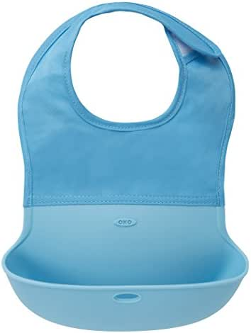 OXO Tot Waterproof Silicone Roll Up Bib with Comfort-Fit Fabric Neck, Aqua