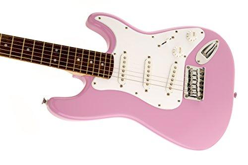 fender 0310101570 squier by mini strat beginner electric guitar rosewood fingerboard pink. Black Bedroom Furniture Sets. Home Design Ideas
