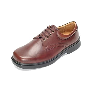 aa683fdc1fa DB Shoes Shannon - Wide Fitting Plain Gibson Leather Shoes - Brown 4E - 11 (